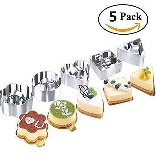 Beneking Stainless Steel Cake Molds - Set of 5 Dessert Cake Mousse Mold Mini Baking Mold with Pusher Cake Rings for Desserts Making, Silver by Beneking