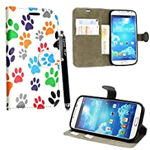 Samsung Galaxy S4 mini I9190 Case, Kamal Star® Premium PU Leather Magnetic Case Cover with ATM card and Note slots + Free Stylus (Multi Dog Cat Paw Print Book)