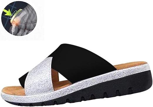 GRASSAIR Sandalias de Las Mujeres, Zapatos de corrección del Dedo Gordo del pie Mujer Verano Playa Viajes PU Zapatillas de Cuero Juanetes Corrector Punta Abierta Sandalia,Black,36: Amazon.es: Hogar