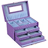 SONGMICS Girls Jewelry Box Lockable Jewelry Case Purple Textured Organizer UJBC133