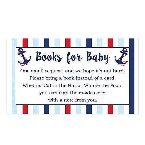 Nautical Boy Baby Shower Bring a Book Insert - 50 Count