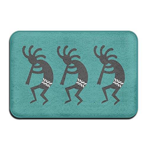 Teal And Black Kokopelli Southwest Design Super Absorbent Anti-Slip Mat,Funny Doormat,Indoor/Outdoor Decor Rug Doormat 23.6(L)X15.7(W) Inch Non-Slip Home Decor