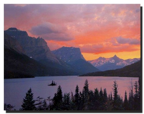 Glacier National Park St. Mary Lake Landscape Scenery Wall Decor Art Print Poster (16x20)