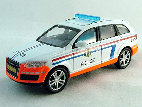 Audi Q7 Luxembourg Police Luxury German Full-Size Luxury SUV 2005 Year 1/43 Scale Diecast Collectible Model Car