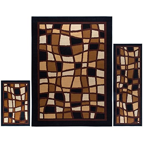 "Home Dynamix Ariana Badah 3 Piece Area Rug Set | Warm & Plush Black, Gold, White | Living Room, Dining Room, Bedroom | Traditional Persian Bold Border Design | 4'11""x6'11"", 1'8""x4'11"", 1'8""x2'8"""