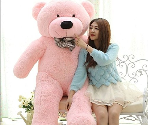 Valentine Giant Teddy Bear 200 CM Huge 6.5 Foot Real Size Not Vacuumed 100% Stuffed Animal 78 Inches Big 18 LBs Heavy Cotton Figure Pink Purple White Brown Great Girl Friend Gift Christmas (Brown)