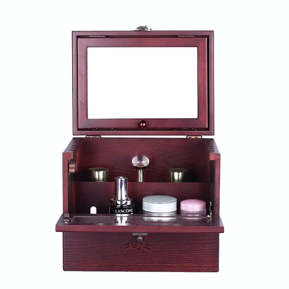 PHILLPS Solid Wooden Jewelry Box Jewelry Box European Cosmetic Case Cosmetic Storage Box with Mirror Jewelry Box Retro