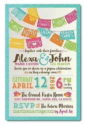 Custom Papel Picado Fiesta Wedding Design Invitation Save the Date Rubber Stamp