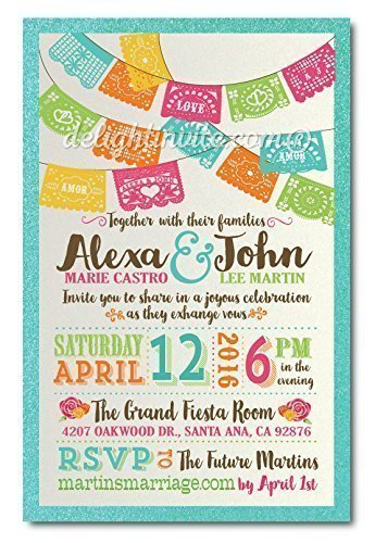 Papel Picado Paper Flags Fiesta Wedding Invitations and Matching Metallic Envelopes with Return Address (Pack of 20 invitations and 20 envelopes - 40 total pieces) ()