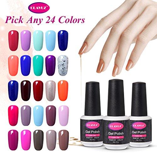 CLAVUZ Soak Off UV Gel Nail Polish Kit Pick Any 24 Colors Nail Lacquer Salon Beauty Nail Art Starter Set Top and Base Coat can Pick DIY at -