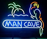 iecool MAN CAVE Parrot Neon Sign 17''x14'' Real Glass Bright Neon Light for Mancave Beer Bar Pub Garage Room