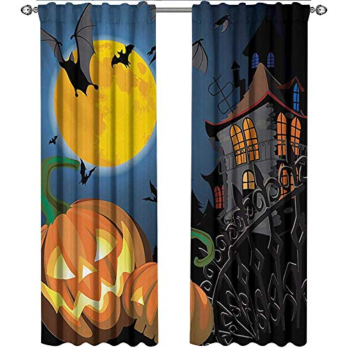 Returiy Halloween, Curtains Elegant, Gothic Halloween Haunted House Party Theme Design Trick or Treat for Kids Print, Curtains for Party Decoration, W96 x L96 Inch, -