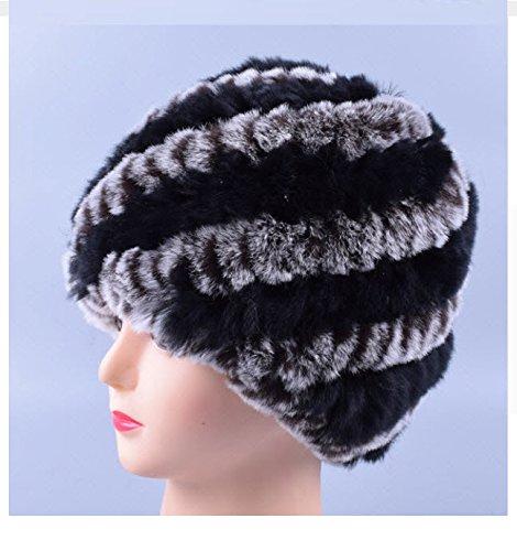 New Design Genuine Rex Fur Pom poms Snow Cap Winter Hats for Girls Skull Cap Real Fur Knitting Rabbit Skullies Beanies Women Hats (Black Coffee)