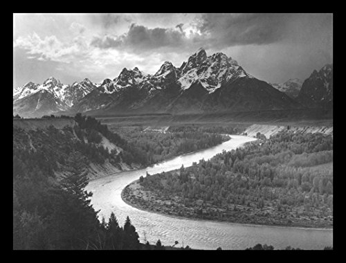 1942 Photograph (buyartforless IF AA1001 16x12 1.25 Black Plexi Framed The Tetons & The Snake River (1942) Grand Teton National Park, Wyoming by Ansel Adams Famous Photograph)