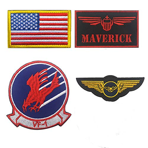 Maverick, Brave Witches Logo VF-1, Wings Crest, American US Flag Embroidered Patch Military Tactical Morale Fastener Hook Loop Backing Patches Cosplay Costume Appliques Badges 4PCS