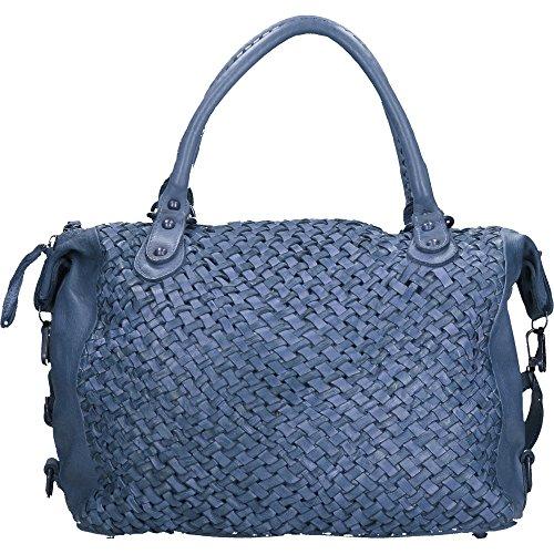 Bolso de mujer Chicca Borse Vintage en Piel Genuina Trenzado Made in Italy 35x26x12 Cm Azul