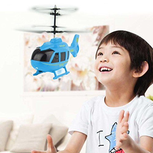 3d Rtf Electric Mini Helicopter (Leegor Mini RC Infraed Induction Helicopter Aircraft Flashing Light Electric Flying Toys For Kids USB Charged Airplanes UFO Birthday Present Christmas Gift (Blue))