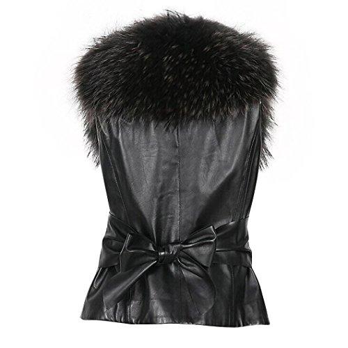 mangas largo de mujer de chaleco piel invierno de de Chaleco de Chaleco abrigo Chaleco Negro sintética sin Chaleco HXpUnqwH
