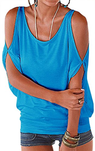 - PINUPART Pullover T Shirt Scoop Neck Blouse Open Back Tops Blue Large