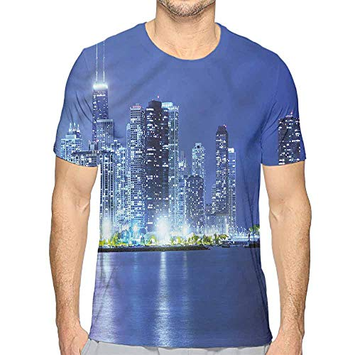 bybyhome t Shirt Urban,Financial District Skyscraper Printed t Shirt -