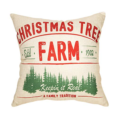 Fjfz Rustic Farmhouse Decor Christmas Tree, Keepin in Real A Family Tradition Winter Holiday Sign Decoration Cotton Linen Home Decorative Throw Pillow Case Cushion Cover for Sofa Couch, 18