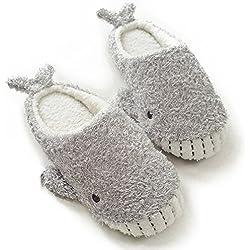 Women's Cozy Fleece Memory Foam House Trick or Treat Halloween Slippers (7-8 B(M) US, Wicky Shark)