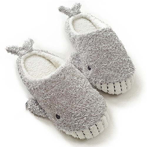 HALLUCI Women's Cozy Fleece Memory Foam House Trick Treat Halloween Slippers (7-8 M US, Wicky Shark) -