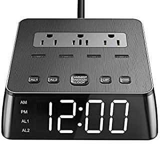 JACKYLED Alarm Clock Power Strip with Full Screen LED Display Nightstand Charger 6.5ft Cord 4USB Ports and 3 Surge Protected Outlets Dimmable Digital Clock with Dual Alarm and Snooze Function Black