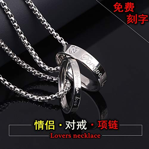 Couples Pair Rings Necklaces Rings Men Man Women Girls Students Courtship Exclusive Custom Lettering Steel Jewelry Jewelry ([fine Steel Chain & amp; middot; one Pair of -