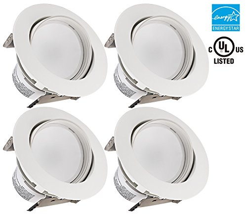 4-Inch LED Gimbal Recessed Retrofit Downlight,11W (65W Equiv.), Dimmable Directional Ceiling Light Fixture, ENERGY STAR, UL-listed,5000K Daylight, 5 YEARS WARRANTY, Pack of 4 (Led Can Light Eyeball compare prices)