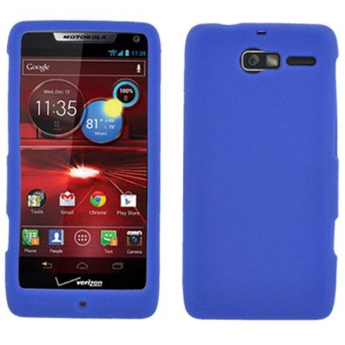 Blue Silicon Soft Rubber Skin Case Cover For Motorola Droid Razr M XT907 Razor with Free Pouch