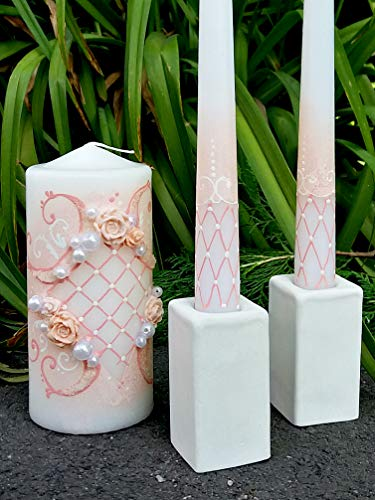 (Magik Life Unity Candle Set for Wedding - Wedding décor & Wedding Accessories - Candle Sets - 6 Inch Pillar and 2 10 Inch Tapers - Best Unity Candle- Pink)