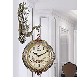 American Style,Retro,Two-sided Clock/Living Room,Creative,Decorative Peacock Wall Charts-D 26inch