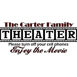 """Walls with Style Theater Decal, Personalized with Your Last Name, (Large 40"""" Long by 17"""" Tall, Black with Burgundy)"""