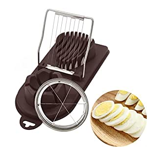 Egg Slicer,2-in-1 Boiled Egg Wedger with Stainless Steel Cutting Wire,Egg Chopper/Divider/Dicer/Cutter,Piercing/Garnishing/Slicing Kitchen Cooking Tool (Coffee)