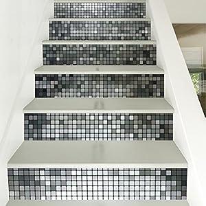 Yazi Silver Mosaic Tile Backsplash Tile Stair Stickers DIY Tile Decals  Waterproof Peel And Stick Home Decor StairCase Decal Stair Mural Decals  7u0027u0027W X 39u0027u0027L ...