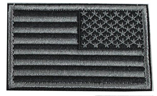 American Flag (Right Arm) Reverse Morale Patch with Hook & Loop - Stealth Gray