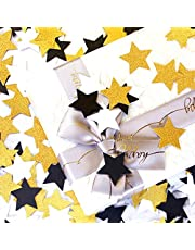 300pcs Black White Gold Paper Confetti,Glitter Twinkle Little Star Table Confetti,Birthday Graduation 2021 Fathers Day Wedding Baby Shower Party Decorations Circle Dots Lasting Surprise