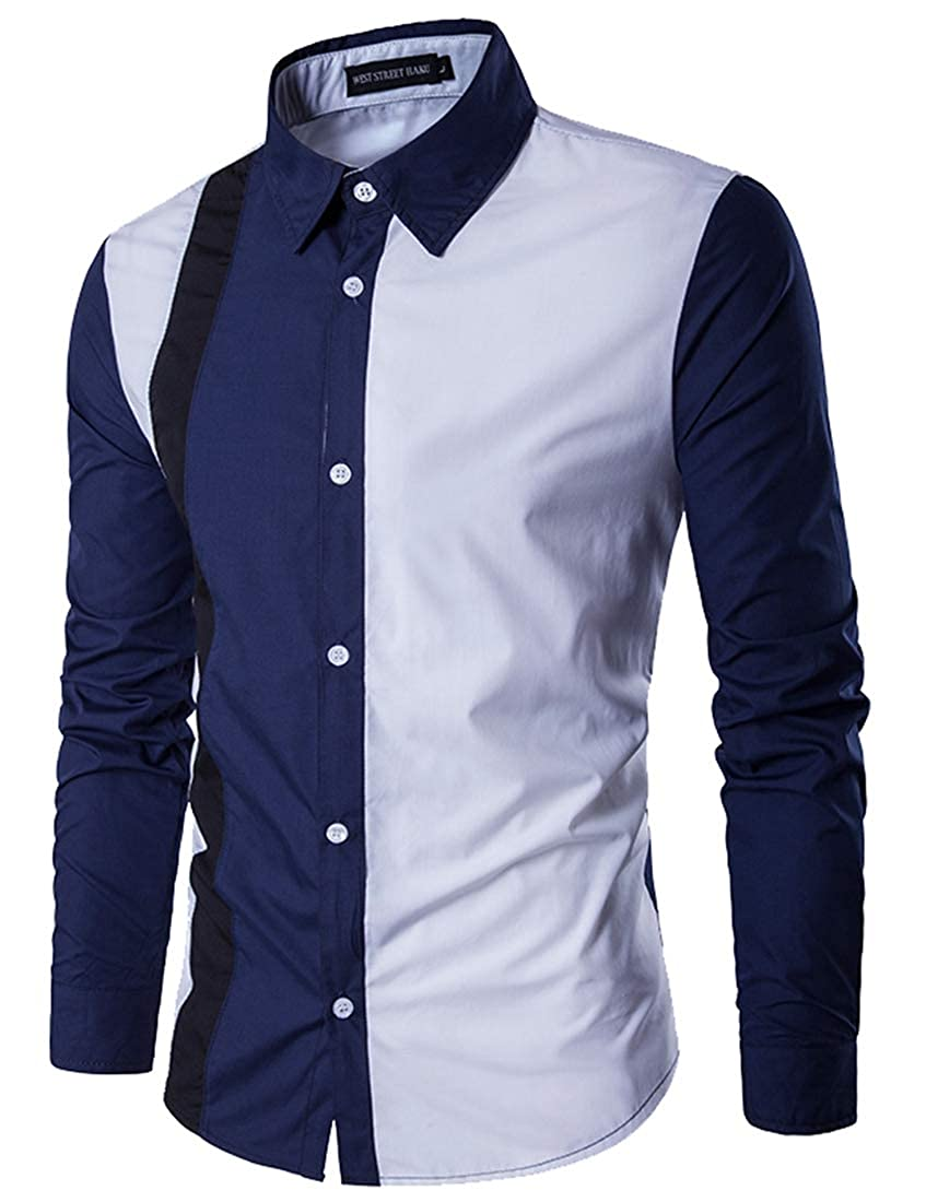 GenericMen Dress Shirt Down Fashion Solid Male Casual Patchwork Long Sleeve Top