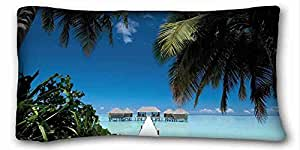 Custom ( Nature conrad maldives hotel island palm tropics ocean lagoon water villa nature ) Custom Zippered Pillow Case 20x36 inches(one sides) from Surprise you suitable for Queen-bed PC-Green-22480