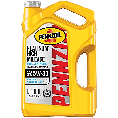 Pennzoil Platinum High Mileage Full Synthetic 5W-30 Motor Oil for Vehicles Over 75K Miles (5-Quart, Single-Pack)