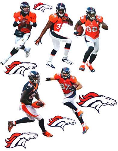 (FATHEAD Denver Broncos Team Set 5 Players + 5 Broncos Logo, Official NFL Vinyl Wall Graphics - Each Player 7