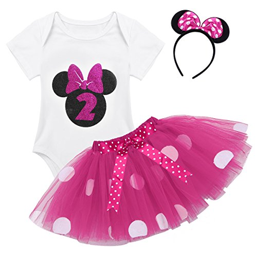 FEESHOW 3Pcs Baby Girls My 1st Birthday Outfits Party Romper Bodysuit with Tutu Skirt Sequins Bow Headband Set Rose Polka Dot 12-24 Months