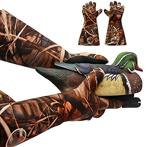 (DecoyPro Decoy Gloves Waterproof - Elbow Length Duck Hunting Decoy Gloves Neoprene - Textured Grip - Insulated Waterproof Decoy Gloves Hunting - Wader Gloves)