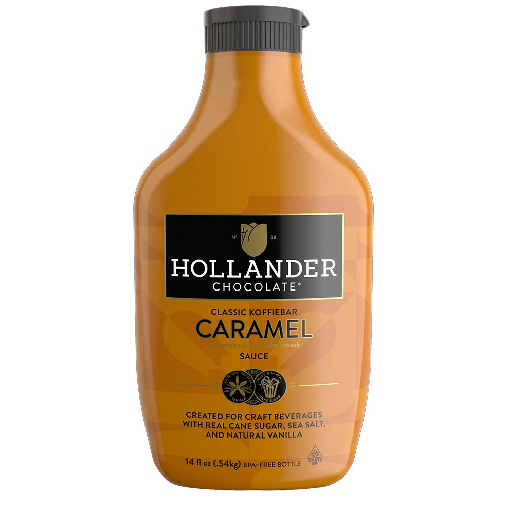 Classic Caramel Café Sauce by Hollander Chocolate Co. | Gourmet Caramel Sauce for Perfect for the Professional or Home Barista - Net Wt. 19 oz / 14 fl. Oz. Squeeze Bottle with Flip-Cap