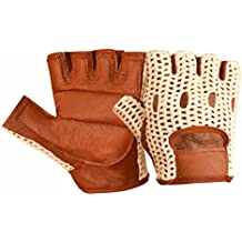 Real Soft Leather Mesh Net Fingerless Driving Weight Training Cycling Wheelchair Gloves W-1037