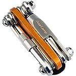 51rtcgcDp8L. SS150 AceCamp 2565, Strumento all-in-One per Biciclette, Mini Strumento, attrezzo Multifunzione per riparazioni, Set 14in 1, 187g, Colore Arancione, Argento, 1 Pezzo