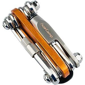 51rtcgcDp8L. SS300 AceCamp 2565, Strumento all-in-One per Biciclette, Mini Strumento, attrezzo Multifunzione per riparazioni, Set 14in 1, 187g, Colore Arancione, Argento, 1 Pezzo
