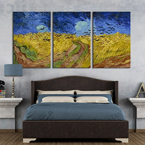 3 Panel Wheatfield with Crows by Vincent Van Gogh Gallery x 3 Panels