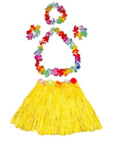 Girl's elastic Hawaiian hula dancer grass skirt with flower costume set-yellow (Hula Dancer Costume)